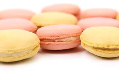 Background of seven various  macaron cakes. Stock Images