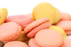 Background of several various macaron cakes. Royalty Free Stock Images