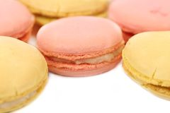 Background of several various macaron cakes. Stock Photography