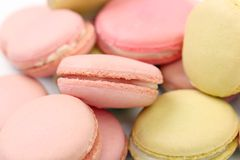 Background of several various macaroons cakes Stock Image