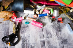 Background is with sewing accessories Stock Photo