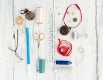Background with sewing and knitting tools Stock Image