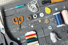 Background with sewing and knitting tools Royalty Free Stock Photo