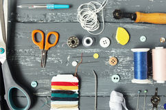 Background with sewing and knitting tools Royalty Free Stock Photography