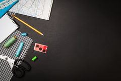 Background with sewing and knitting tools and accesories Royalty Free Stock Image