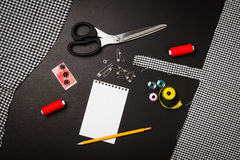 Background with sewing and knitting tools and accesories Royalty Free Stock Photo