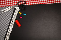 Background with sewing and knitting tools and accesories Royalty Free Stock Photos