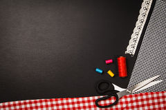 Background with sewing and knitting tools and accesories Stock Images