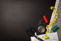 Background with sewing and knitting tools and accesories Stock Image