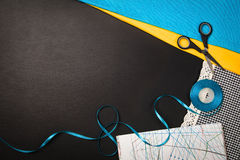 Background with sewing and knitting tools and accesories Stock Photography