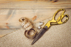 Background with sewing and knitting tools Stock Photography