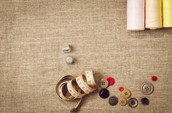 Background with sewing and knitting tools Stock Photo
