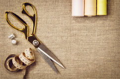 Background with sewing and knitting tools Stock Images