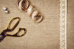 Background with sewing and knitting tools Stock Photos