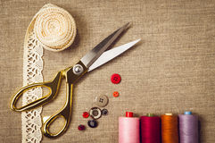 Background with sewing and knitting tools Royalty Free Stock Photos