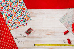 Background with sewing or knitting tools and accessories Stock Image
