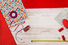 Background with sewing or knitting tools and accessories Royalty Free Stock Photo