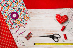Background with sewing or knitting tools and accessories Stock Photography