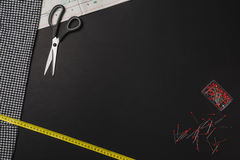 Background with sewing and knitting tools on black chalkboard Stock Images