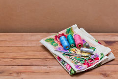Background  with sewing  tools and colored thread Royalty Free Stock Photography