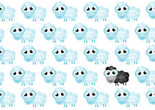 Background of sheep with black sheep. Vector illustration of background of sheep with black sheep vector illustration Royalty Free Stock Images