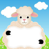 Background with sheep and label Royalty Free Stock Photos