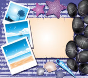 Background with shells, photos and place for text Royalty Free Stock Photography