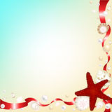 Background with Shells and Red. Vector Stock Images