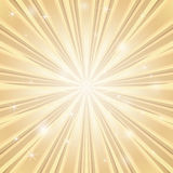Background with shining star with divergent bundle of beams in golden colors. Vector stylish background with shining star with divergent bundle of beams in Royalty Free Stock Image