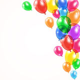 Background with shiny balloons. Set of colored balloons flying on white background in corner, illustration Royalty Free Stock Images