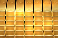 Background from shiny gold bars Royalty Free Stock Images
