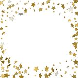 Background with shiny gold stars. golden confetti frame.  vector illustration