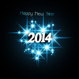 Background for shiny stars Happy New Year 2014. Blue colorful illustration Stock Illustration