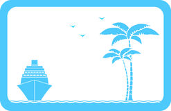 Background with ship, palm and seagull Stock Photo