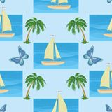 Background with a ship, palms and butterflies Stock Image