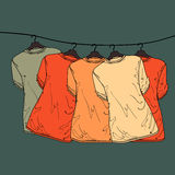 Background of shirts on hangers Royalty Free Stock Image
