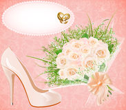 Background with shoes bouquet and rings for weddin Stock Photos