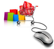 Background with shopping color bags Royalty Free Stock Photography