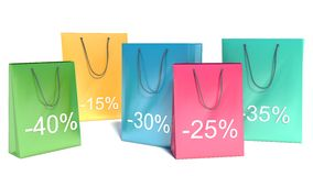 Background with shopping color bags. Discounts Stock Photo
