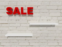 Background shopping shelves sale discount brick wall Royalty Free Stock Photography