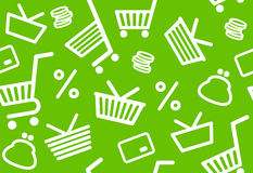 Background with shopping symbols Stock Images