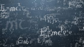 Background shot of blackboard with scientific and algebraic formulas and graphs written on it in graphics. Business. Concept - sketch with schemes and graphs on Royalty Free Stock Photography