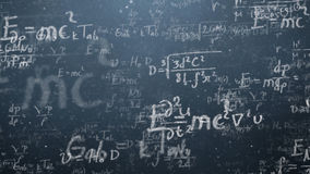 Background shot of blackboard with scientific and algebraic formulas and graphs written on it in graphics. Business