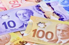 Canadian banknotes Background. Background shot of Canadian banknotes, Canadian banknotes are the banknotes or bills of Canada royalty free stock images