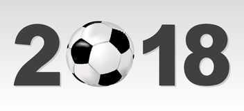 Background with the sign 2018 and soccer ball Royalty Free Stock Photos