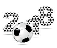 Background with the sign 2018 and soccer ball Royalty Free Stock Photography