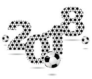 Background with the sign 2018 and soccer ball Stock Photo