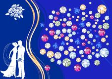 Background with silhouette of a bride and groom Stock Photography
