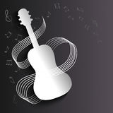 Background with a silhouette of a guitar and notes Stock Photos