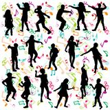 Background with silhouettes of children dancing. Background with black silhouettes of children dancing Royalty Free Stock Images